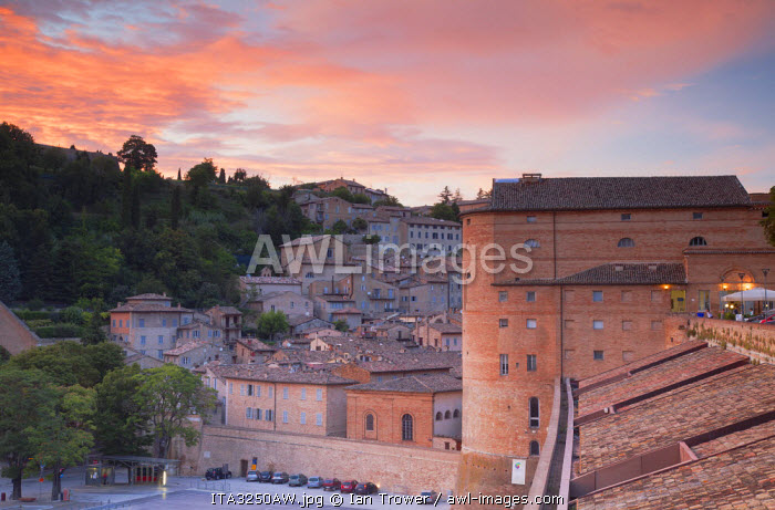 View of Urbino (UNESCO World Heritage Site) at sunset, Le Marche, Italy