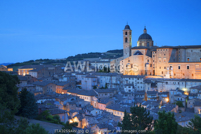 View of Urbino (UNESCO World Heritage Site) at dusk, Le Marche, Italy