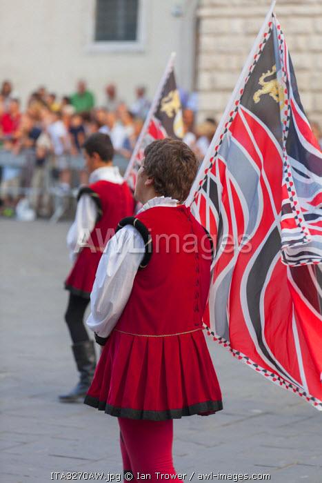 Flag bearers in medieval festival of La Quintana, Ascoli Piceno, Le Marche, Italy
