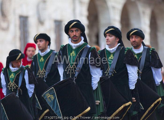 Drummers in medieval festival of La Quintana, Ascoli Piceno, Le Marche, Italy