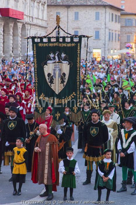 Procession of medieval festival of La Quintana, Ascoli Piceno, Le Marche, Italy