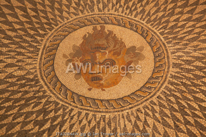 Roman floor mosaic inside Museum of Archaeology, Ascoli Piceno, Le Marche, Italy