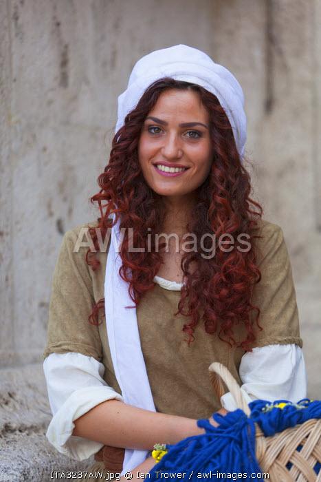 Woman in medieval festival of La Quintana, Ascoli Piceno, Le Marche, Italy