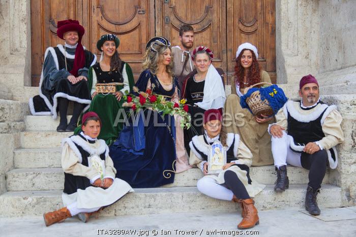 People in medieval festival of La Quintana, Ascoli Piceno, Le Marche, Italy