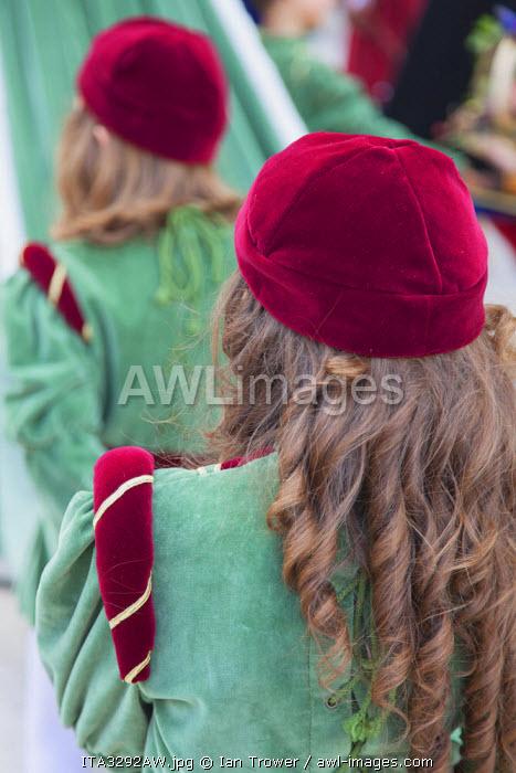 Children in medieval festival of La Quintana, Ascoli Piceno, Le Marche, Italy