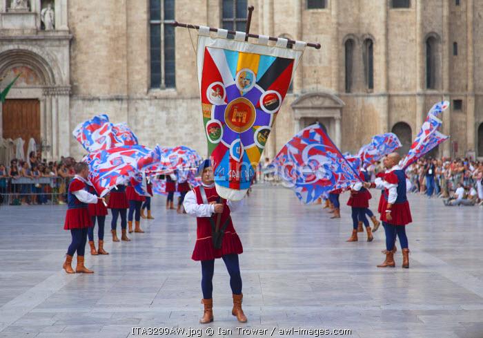 Medieval festival of La Quintana in Piazza del Popolo, Ascoli Piceno, Le Marche, Italy