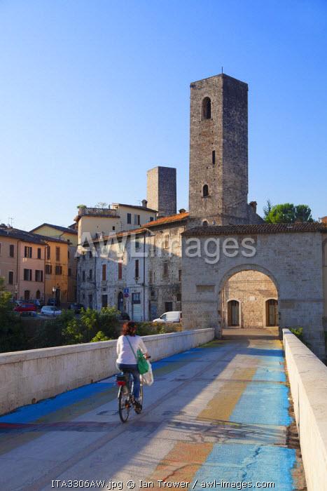 Porta Solesta and Roman bridge, Ascoli Piceno, Le Marche, Italy