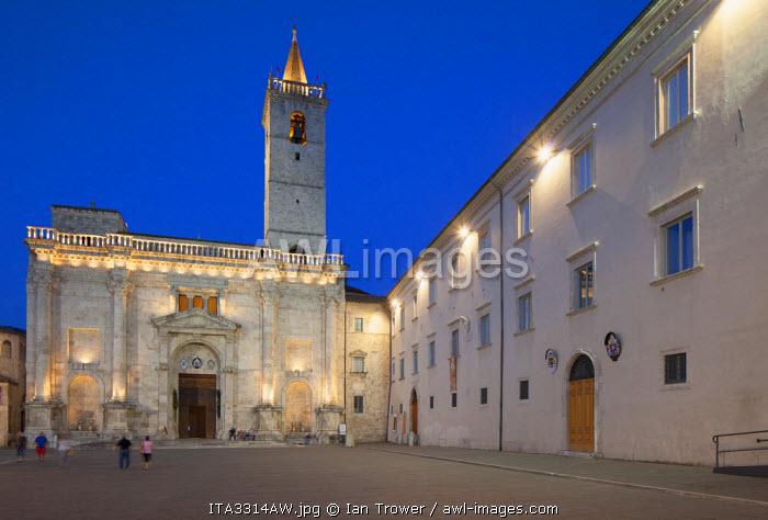 Duomo (Cathedral) in Piazza Arringo at dusk, Ascoli Piceno, Le Marche, Italy