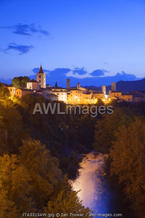 View of Ascoli Piceno at dusk, Le Marche, Italy