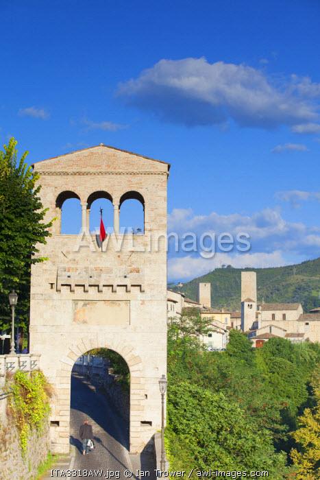 View of Porta Tufilla and Ascoli Piceno, Le Marche, Italy