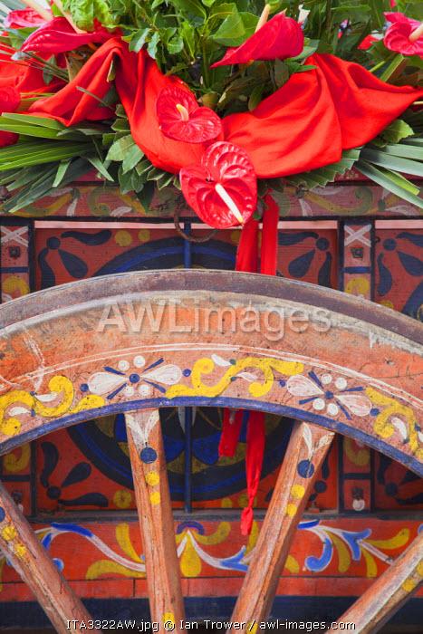 Detail of cart used in procession of St Emygdius in Piazza Arringo, Ascoli Piceno, Le Marche, Italy