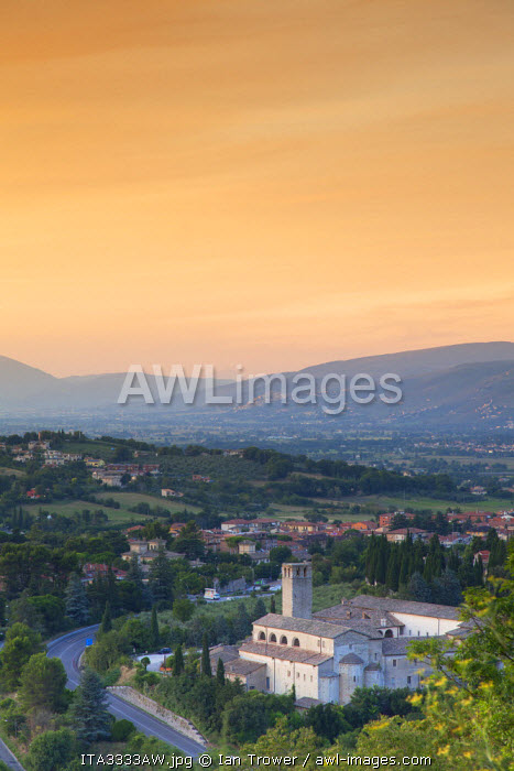 View of Church of St Ponziano at sunset, Spoleto, Umbria, Italy