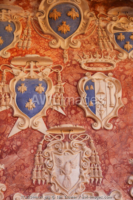 Coat of arms inside Rocca Albornoziana, Spoleto, Umbria, Italy