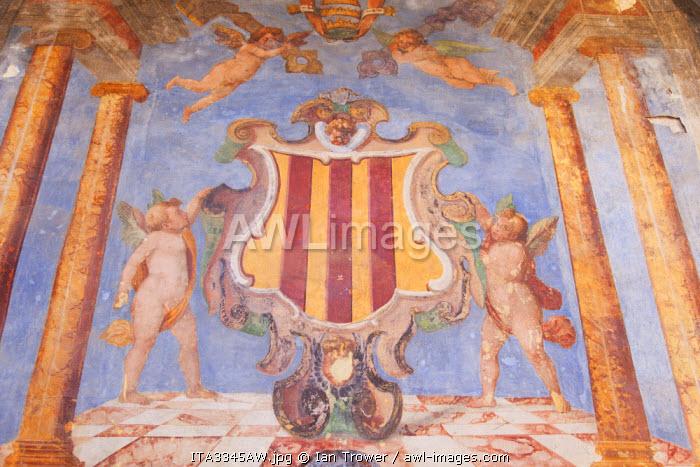 Mural inside Rocca Albornoziana, Spoleto, Umbria, Italy
