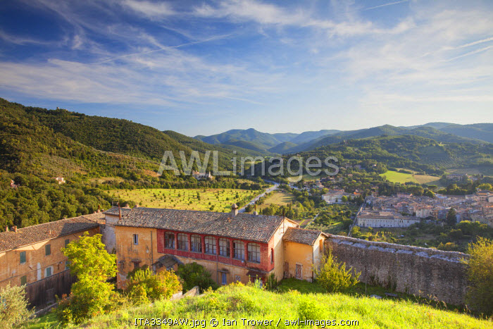 View of Church of St Peter from grounds of Rocca Albornoziana, Spoleto, Umbria, Italy