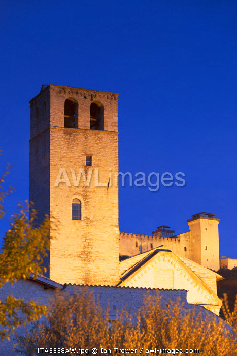 Church of San Ponziano and Rocca Albornoziana at dusk, Spoleto, Umbria, Italy