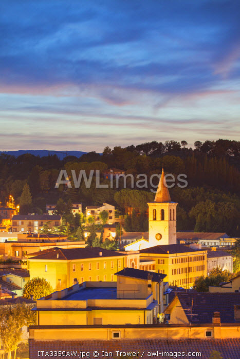 View of Spoleto at dusk, Umbria, Italy