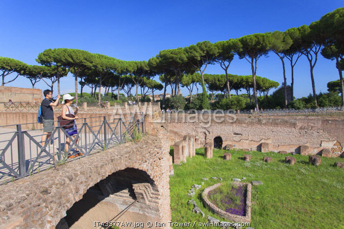 Tourists at Stadium of Domitian on Palatine Hill (UNESCO World Heritage Site), Rome, Lazio, Italy