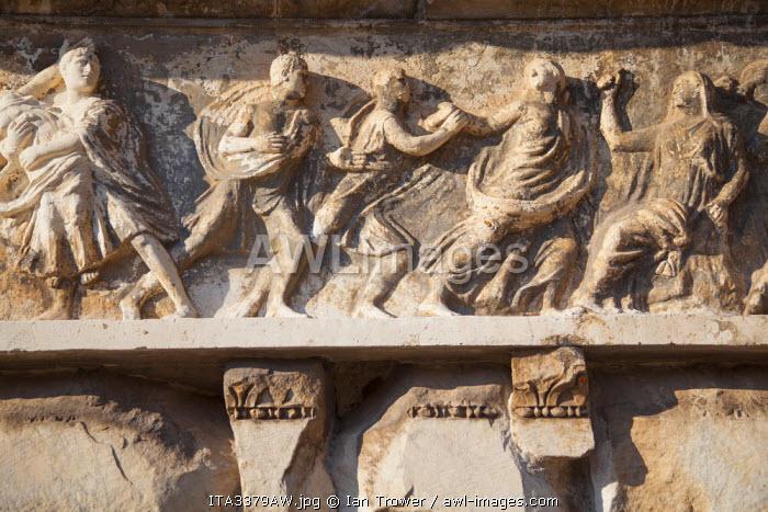 Bas-relief in Basilica Emilia in Roman forum (UNESCO World Heritage Site), Rome, Lazio, Italy