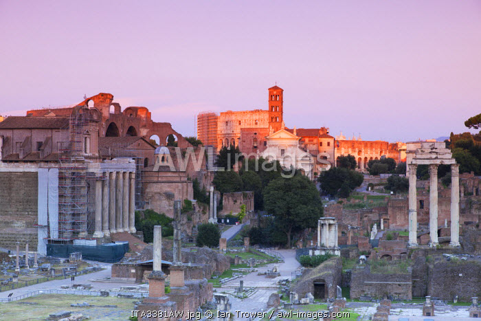 Roman forum (UNESCO World Heritage Site) at sunset, Rome, Lazio, Italy