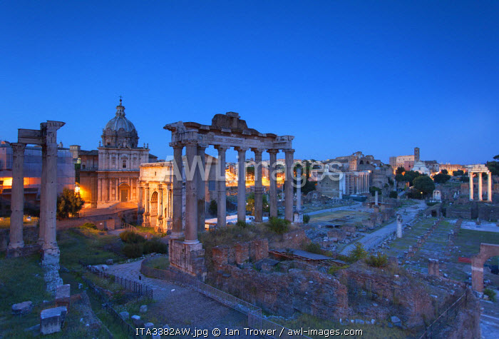 Roman forum (UNESCO World Heritage Site) at dusk, Rome, Lazio, Italy