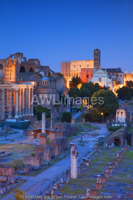Roman forum (UNESCO World Heritage Site) at dusk, Rome, Lazio, Italy