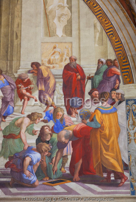 Fresco of The School of Athens by Raphael in Room of the Signature inside Vatican Museum (UNESCO World Heritage Site), Vatican City, Rome, Italy