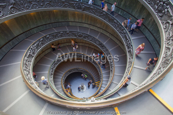 Spiral stairs inside Vatican Museum (UNESCO World Heritage Site), Vatican City, Rome, Italy