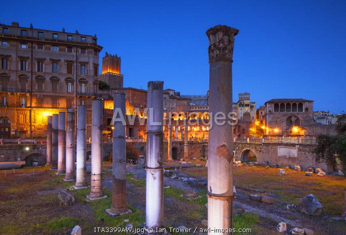 Trajan's Market (UNESCO World Heritage Site) in Trajan's Forum at dusk, Rome, Lazio, Italy