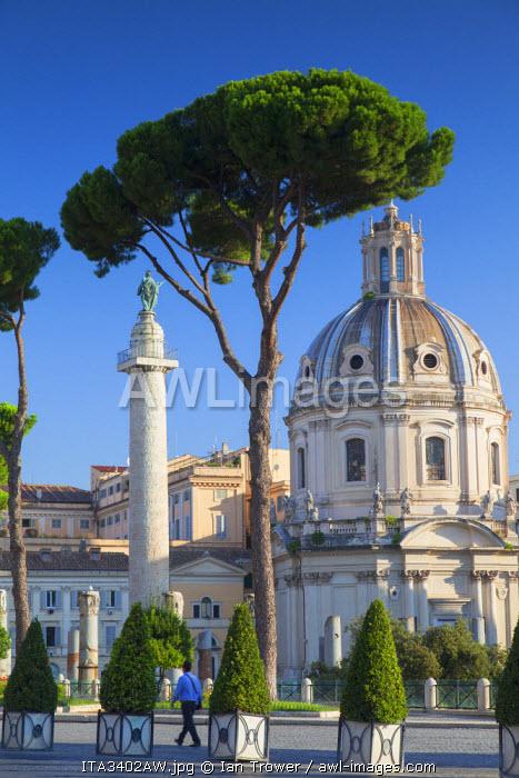 Trajan's Column (UNESCO World Heritage Site) and church of Santa Maria di Loreto, Rome, Lazio, Italy