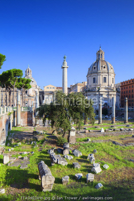 Trajan's Column (UNESCO World Heritage Site) and church of Santa Maria di Loreto, Rome, Lazio, Italy