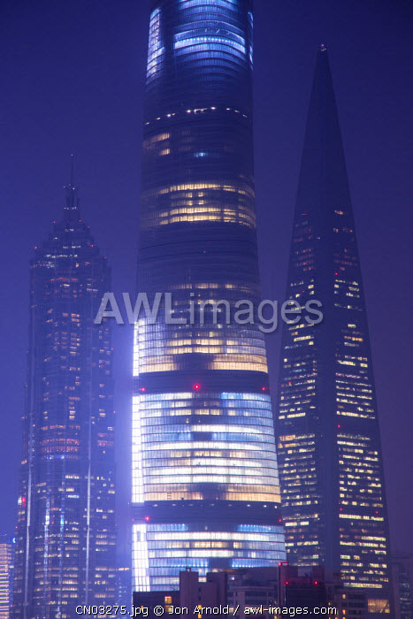 Shanghai Tower, Jin Mao Tower and Shanghai World Finance Center, Pudong, Shanghai, China