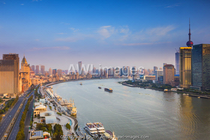 The Bund and Pudong skyline across the Huangpu river, Shanghai, China