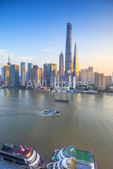 Shanghai Tower and the Pudong skyline across the Huangpu river, Shanghai, China