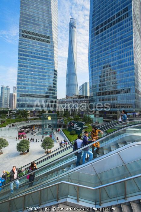 IFC Shopping Mall (Shanghai Tower behind), Lujiazui, Pudong, Shanghai, China