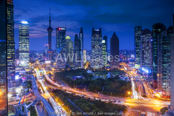 Oriental Pearl Tower and Lujiazui skyline, Pudong, Shanghai, China