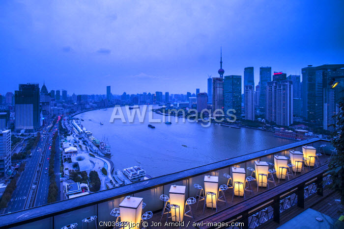 The Bund from the rooftop bar of the Indigo on the Bund Hotel, Shanghai, China