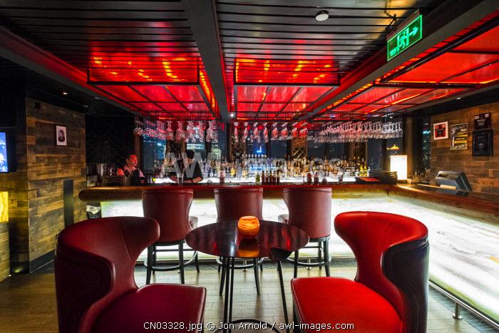 Bar at the top of Indigo on the Bund Hotel, The Bund, Shanghai, China