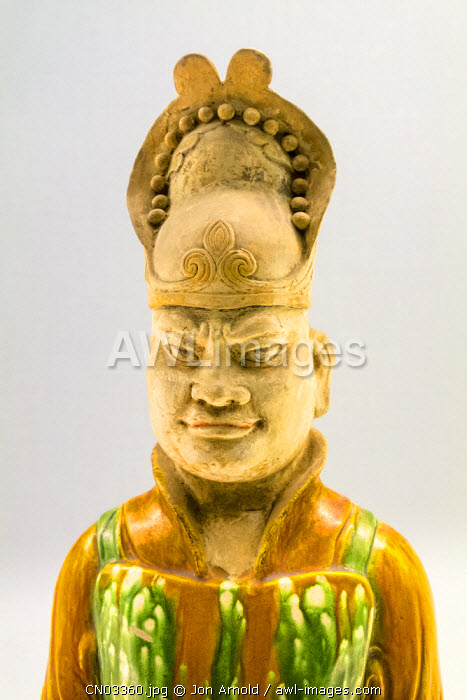 Glazed pottery figurine (Tang dynasty AD618-907), Shanghai Museum, People's Square, Shanghai, China
