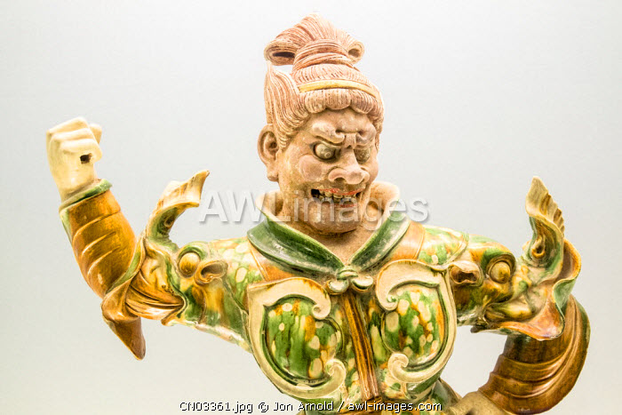Glazed pottery statue of Heavenly Guardian (Tang dynasty AD618-907), Shanghai Museum, People's Square, Shanghai, China