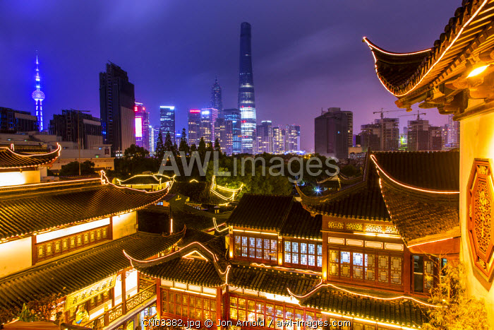 YuYuan Gardens and Bazaar with the Shanghai Tower behind, Old Town, Shanghai, China
