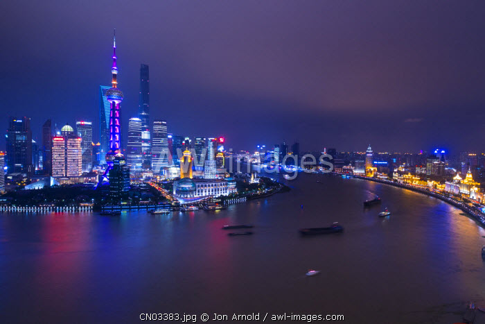 Pudong skyline across the Huangpu river, Shanghai, China
