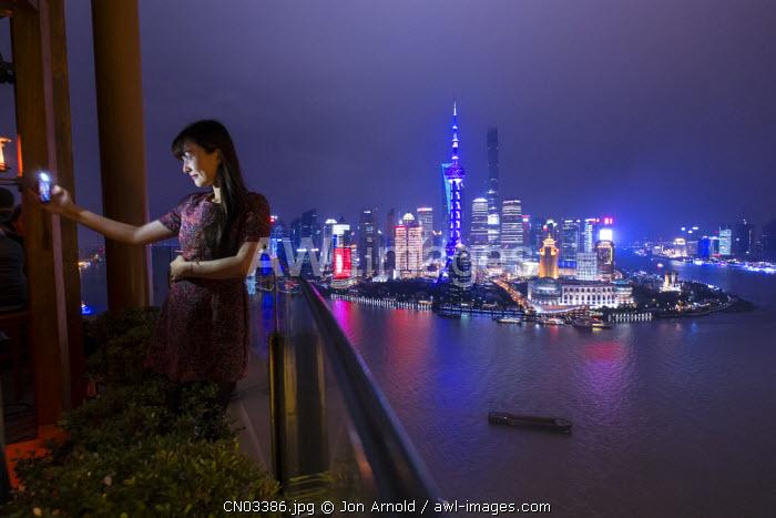 Vue bar at the Hyatt on the Bund, and Pudong skyline, Shanghai, China