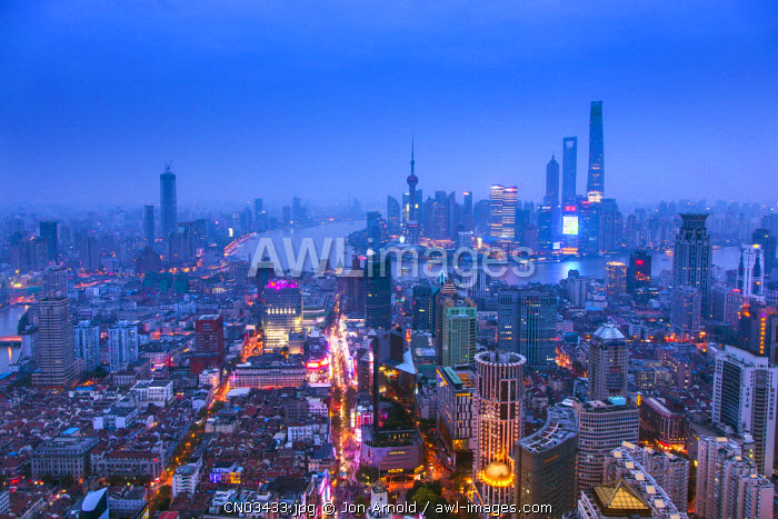 Pudong skyline and East Nanjing Road, Shanghai, China