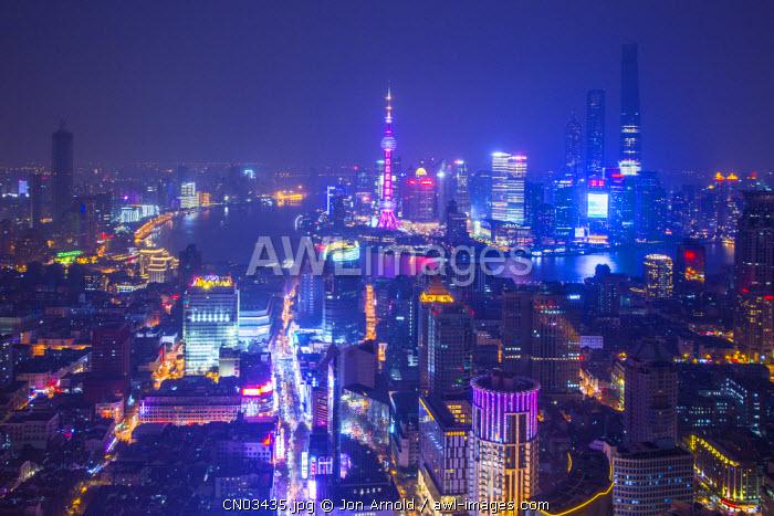 Pudong skyline and East Nanjing Road, Shanghai, China