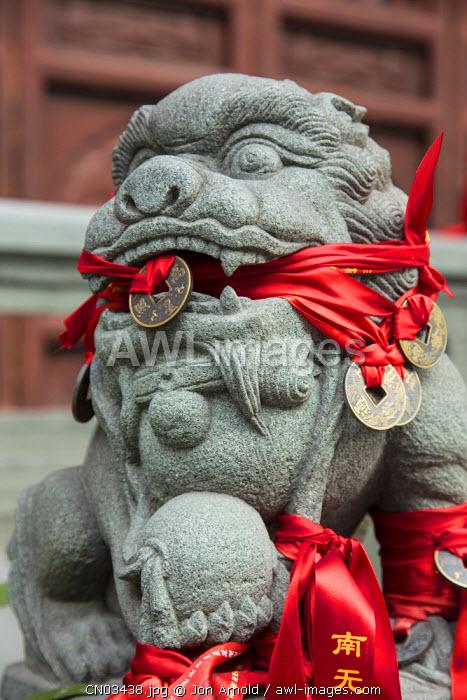 Lion statue, Jade Buddha Temple, Shanghai, China