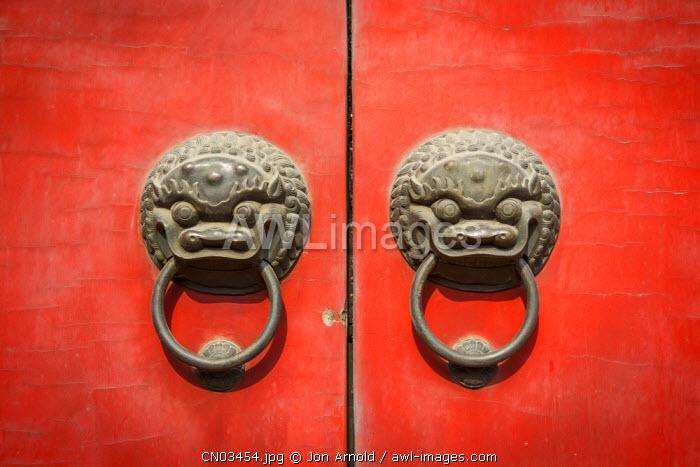 Red doors, Jade Buddha Temple, Shanghai, China