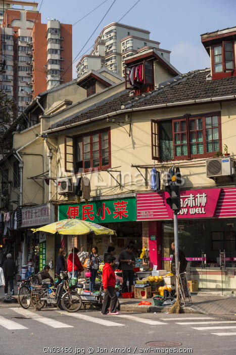 Typical street in central Shanghai, China