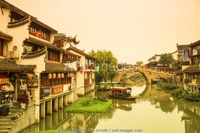 Canal and bridge, Qibao, Shanghai, China