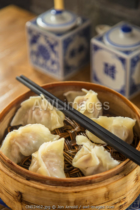 Steamed dumplings (steamed bun or Xia olong bao), Qibao, Shanghai, China